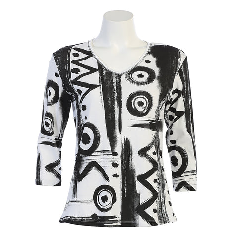 "Jess & Jane ""Puzzle"" Abstract Print V-Neck Top in Black & White 15-1143WT"