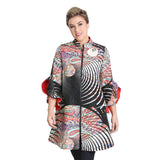 IC Collection Abstract Print Zip Front Jacket in Multi - 1511J
