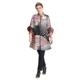 IC Collection Lightly Textured Abstract Zip Front Jacket in Multi - 1511J - Size S Only