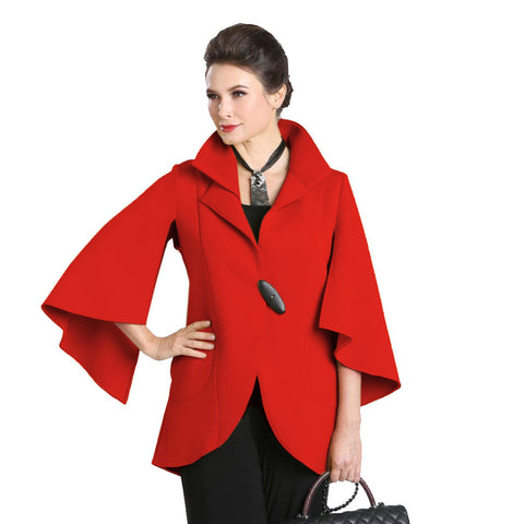 IC Collection One-Button Split Sleeve Jacket in Red - 1513J-RED