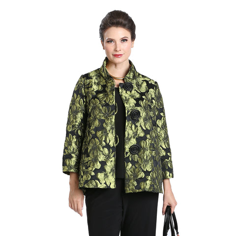 2005J IC Collection Brocade Button Front Jacket in Gold//Black