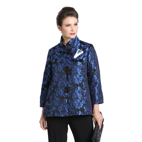 IC Collection Jacquard Button Front Jacket in Blue/Black ♥ 1514J-BLU - Sizes S & L