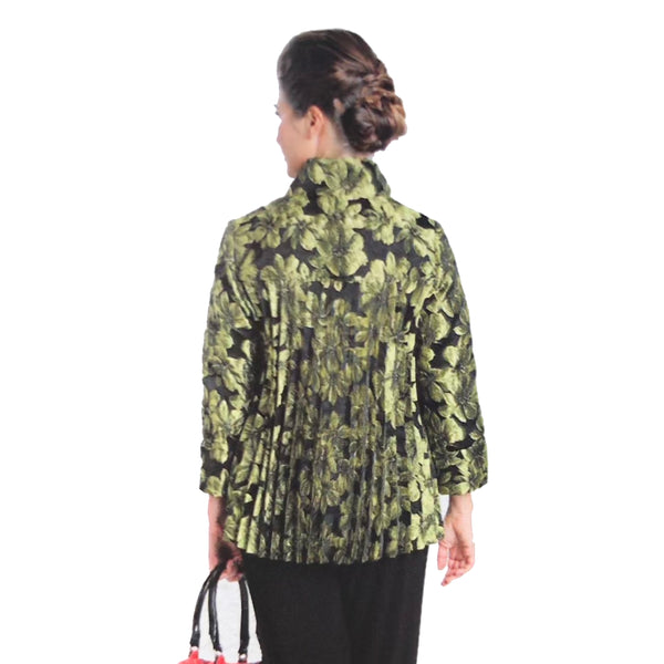 IC Collection Floral-Jacquard Accordian Back Jacket in Kiwi - 1514J-KW - Sizes S & M