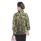 IC Collection  Jacquard Button Front Jacket in Kiwi/Black ♥ 1514J-KW