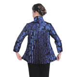 IC Collection Floral-Jacquard Button Front Jacket in Blue - 1514J-BLU