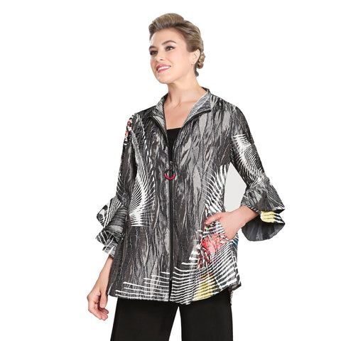 IC Collection Butterfly Print Flutter Sleeve Zip Jacket in Grey/Multi - 3151J