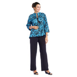 IC Collection Floral-Jacquard Jacket in Blue - 1523J - Size XL Only