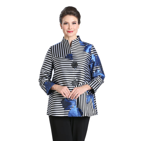 IC Collection Floral-Stripe Button Front Jacket in Blue/Multi - 1525J