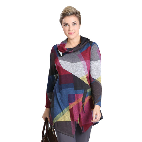 IC Collection Abstract Cowl Neck Sweater Knit Tunic in Multi -1526T - Size XL Only
