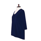 Valentina Signa Solid V Neck Hi-Low Tunic Top in Navy - 15296-NVY