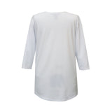 Valentina Signa Solid V Neck Hi-Low Tunic Top in White - 15296-WHT