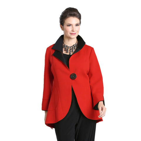 IC Collection Cutaway Contrast Trim Jacket in Red/Black - 1529J-RED