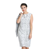 IC Collection Textured Stripe Sleeveless Dress - Black/White 1534D-WHT