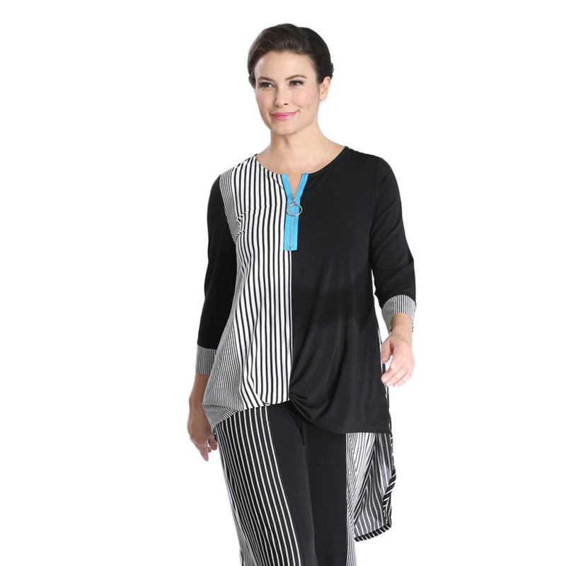 IC Collection Striped Colorblock High-Low Tunic -1538T