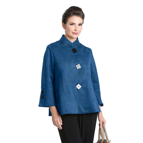 IC Collection Faux Suede Button Front Jacket in Teal - 1547J-TL