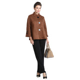 IC Collection Faux Suede Button Front Jacket in Camel - 1547J-CML
