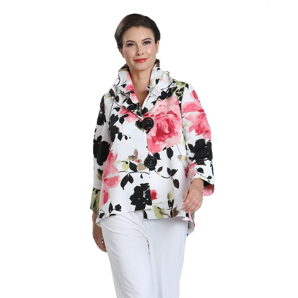 IC Collection Floral-Print High-Low Jacket in Multi - 1550J-PNK