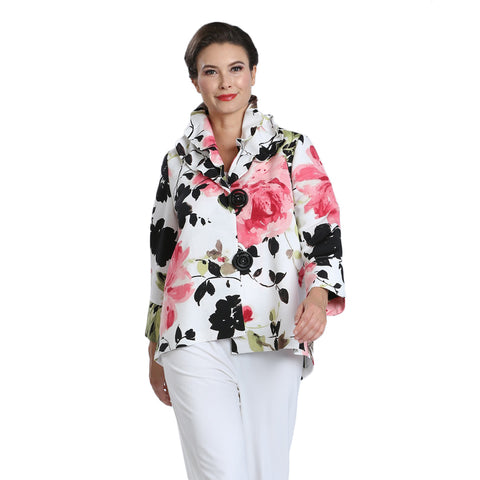 IC Collection Floral Print Double-Collar Jacket in White/Multi - 1550J-WHT