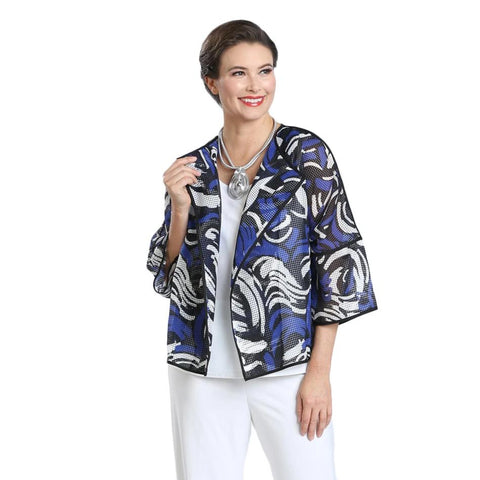 IC Collection Half Sleeve Mesh Jacket in Blue/Multi - 1551J-BLU