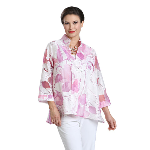 IC Collection Sheer Floral Jacket in Shades of Pink - 1555J-PNK