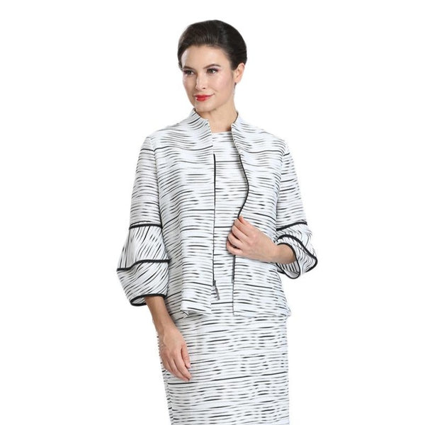 IC Collection Striped Lantern-Sleeve Short Jacket - 1565J-WHT- Sizes S & M Only