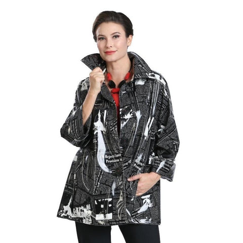 IC Collection Shiny Waterproof Newsprint Jacket in Black/White - 1570J