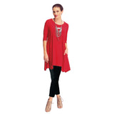 IC Collection Crisscross Keyhole Back Long Pocket Tunic in Red - 1575T-RED