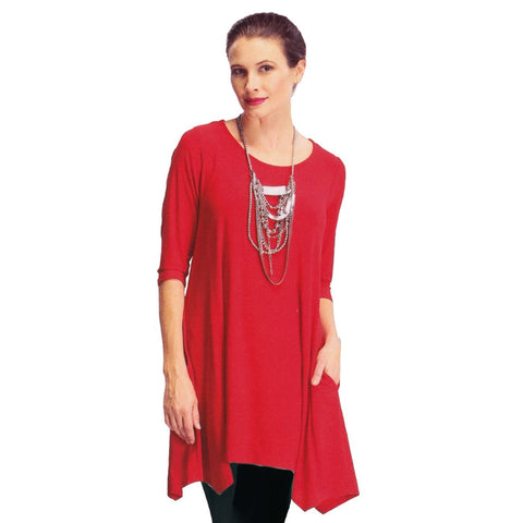 IC Collection Keyhole Back Tunic in Red - 1575T-RED