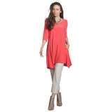IC Collection Crisscross Keyhole Back Long Pocket Tunic in Coral - 1575T-CRL