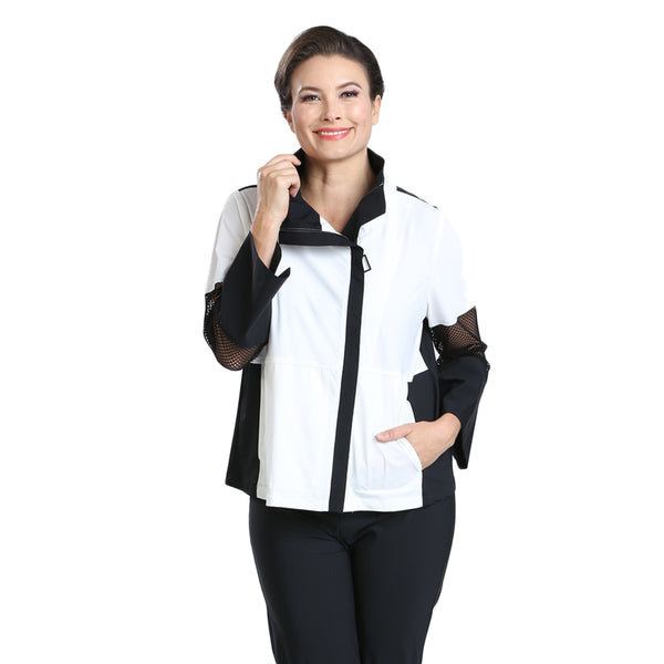 IC Collection Colorblock Parachute Jacket in Black & White - 1590J - Sizes M & XXL