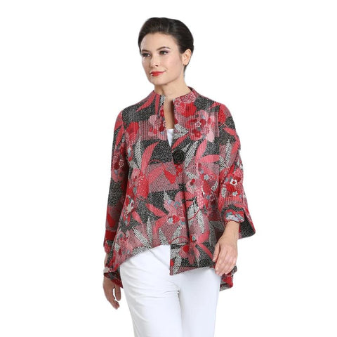 IC Collection Floral Mesh Jacket in Red/Multi - 1594J-RED - Size XL Only