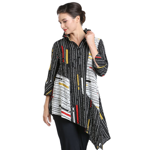 IC Collection Mixed Stripe Button Front Asymmetric Shirt - 1599T-BLK