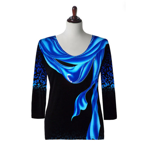 "Valentina Signa ""Breeze"" V-Neck Top in Blue  16453-2"