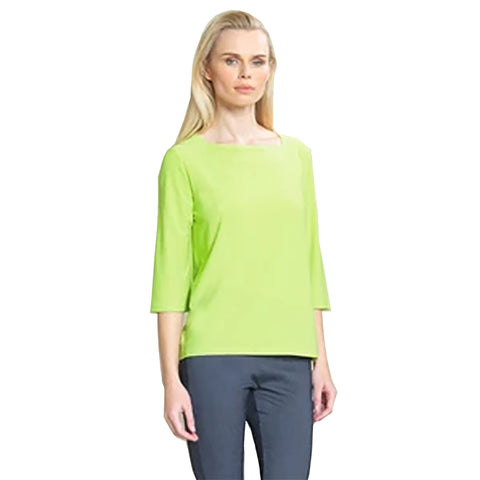 Clara Sunwoo High-Low Boat Neck Top in Lime - T36-LM - Size S Only