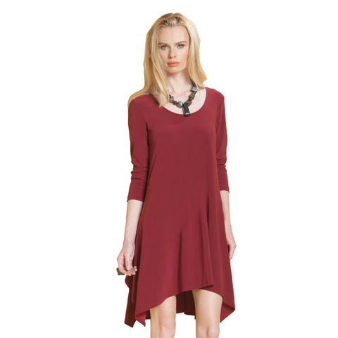 Clara Sunwoo Trapezoid Tunic Dress in Merlot TD301