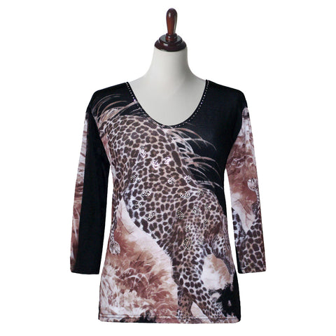 "Valentina Signa ""Cheetah Print"" Top in Multi - 17458-6-MT"