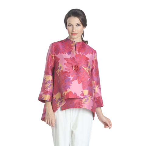 IC Collection Floral High-Low Asymmetric Jacket in Fuchsia Multi 1747J