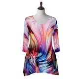 "Valentina Signa ""Fusion"" Abstract Print V-Neck Tunic in Pink/Multi - 17537-1"