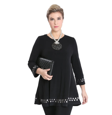 IC Collection Silver Tile-Embellished Tunic Top in Black - 1759T-BLK