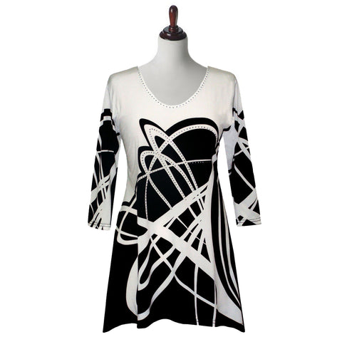 "Valentina Signa ""Rings"" Abstract Print V-Neck Tunic in Black & White - 17826"