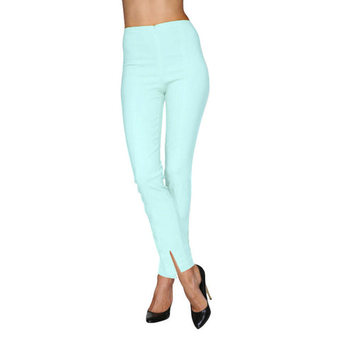 Mesmerize Pants with Front Ankle Slits and Front Zipper in Baby Blue - MA21-BBL-Size 10 Only