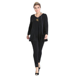 Just In! IC Collection Swing Style Tunic with Sequin Cuffs in Black - 1809T