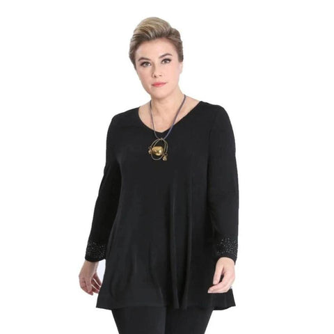 IC Collection Soft Knit V-Neck Tunic with Studded Cuffs in Black - 1809T