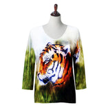 "Valentina Signa ""Tigress"" V-Neck Top in Multi - 19424"