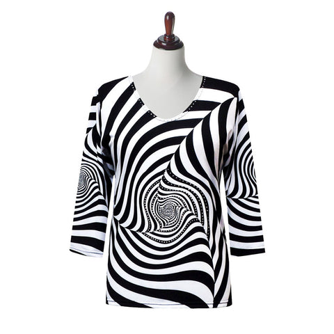 "Valentina ""Zebraland"" Print Top in Black/White - 19616"