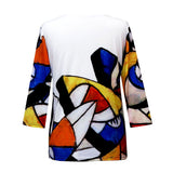 "Valentina Signa ""Geo Play"" V-Neck Top in Multi/White - 19657-1"
