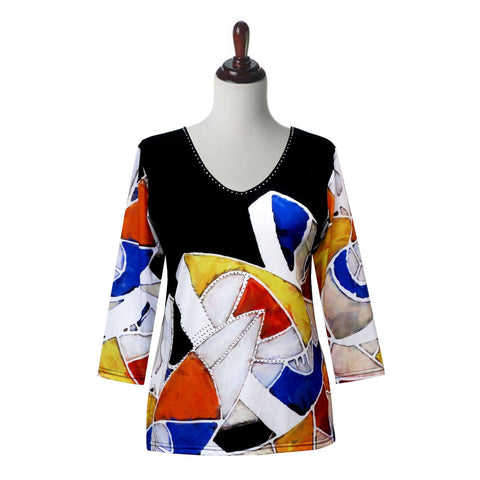 "Valentina Signa ""Geo Play"" V-Neck Top in Multi/Black - 19657-2"