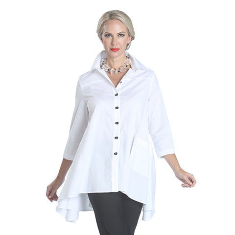 IC Collection Button Down Cascading Full Bodied Shirt in White - 1975J