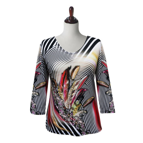 "Valentina ""Feathers"" V-Neck Stripe Print Top in Multi - 19827-4"
