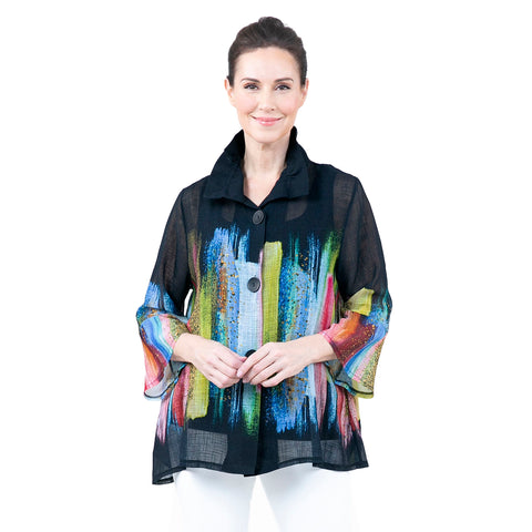 Damee Multicolor Brushstroke Button Front Jacket - 4606-BLK